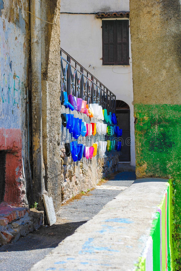 Colourful streets in Italy royalty free stock photo