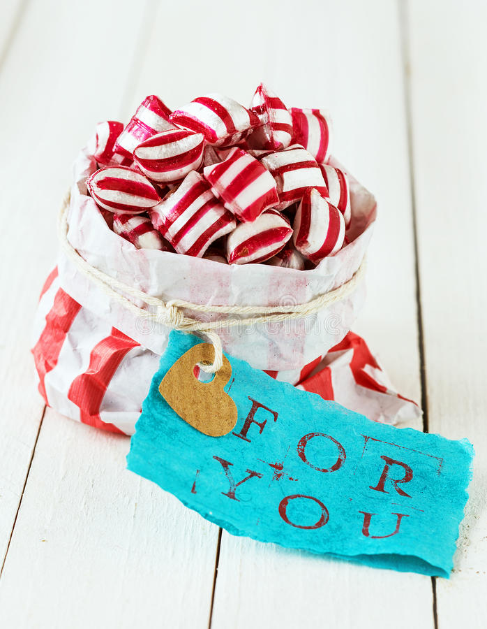 Colourful striped candy For You royalty free stock photos