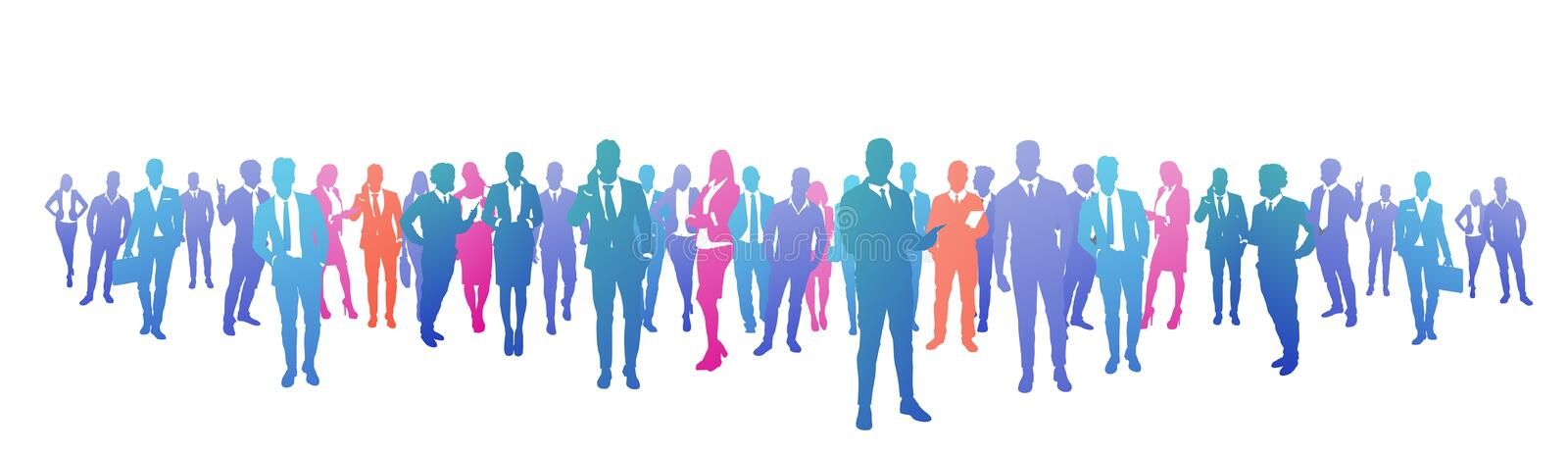 Colourful success business people silhouette, group of diversity businessman and businesswoman successful team concept royalty free illustration