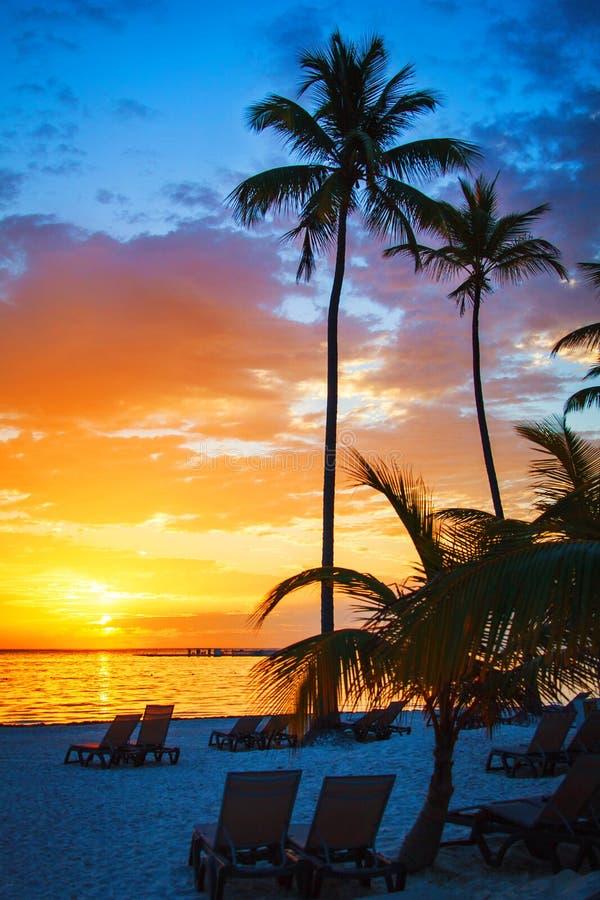 Colourful sunrise on the ocean in Punta Cana, 01.05.2017 stock photos