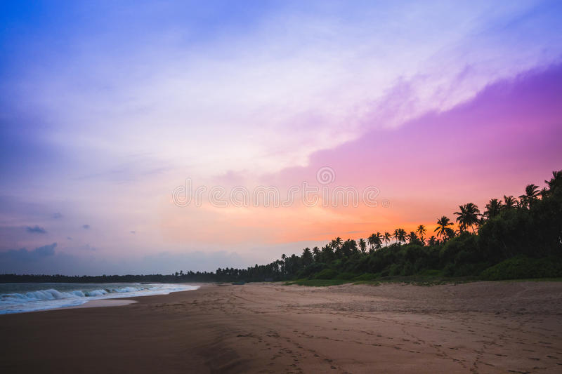 Colourful sunset at beautiful kahadamodara beach in the southern stock image