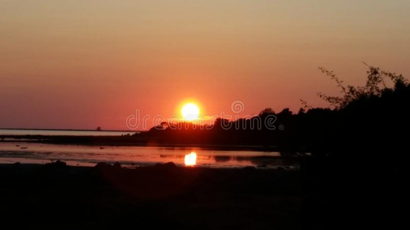 Colourful sunset in Gotland stock photo