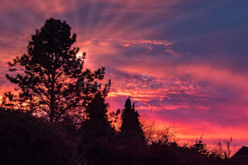 Colourful Sunset over East Grinstead. In West Sussex stock photography