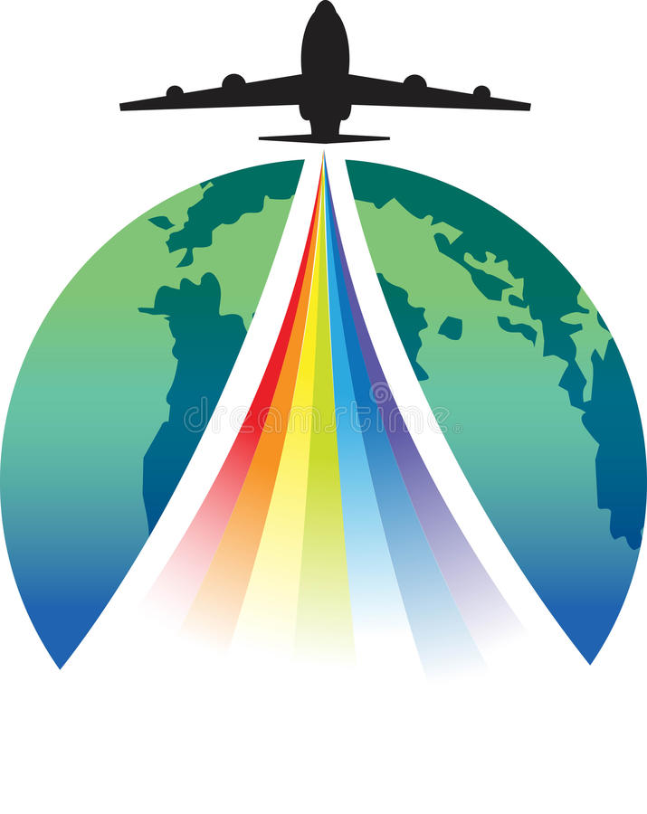 Colourful takeoff. Takeoff illustrated image with rainbow colour vector illustration