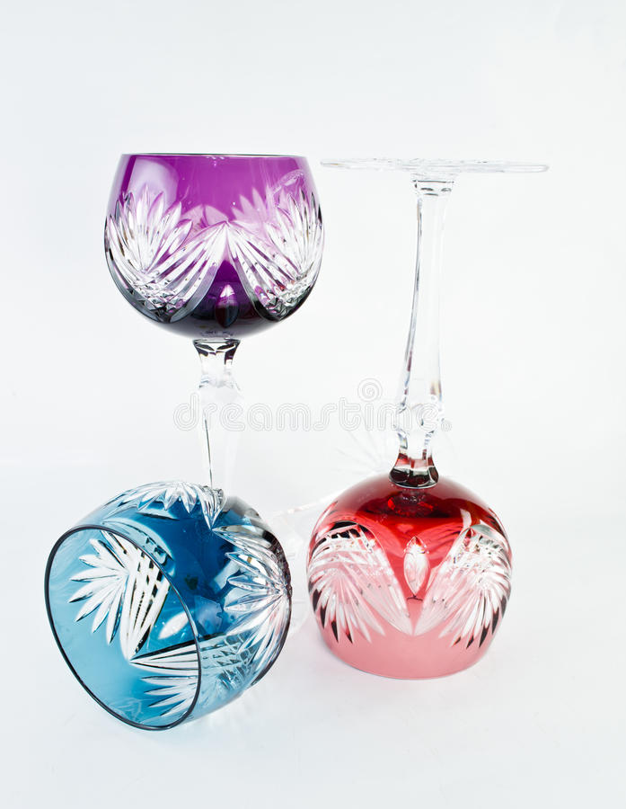 Colourful tall glass on white backgroumd royalty free stock photography