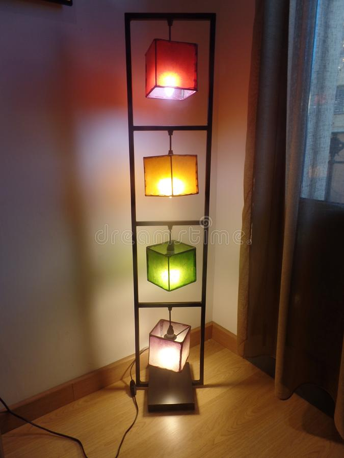 Colourful tall mood floor lamp royalty free stock photography