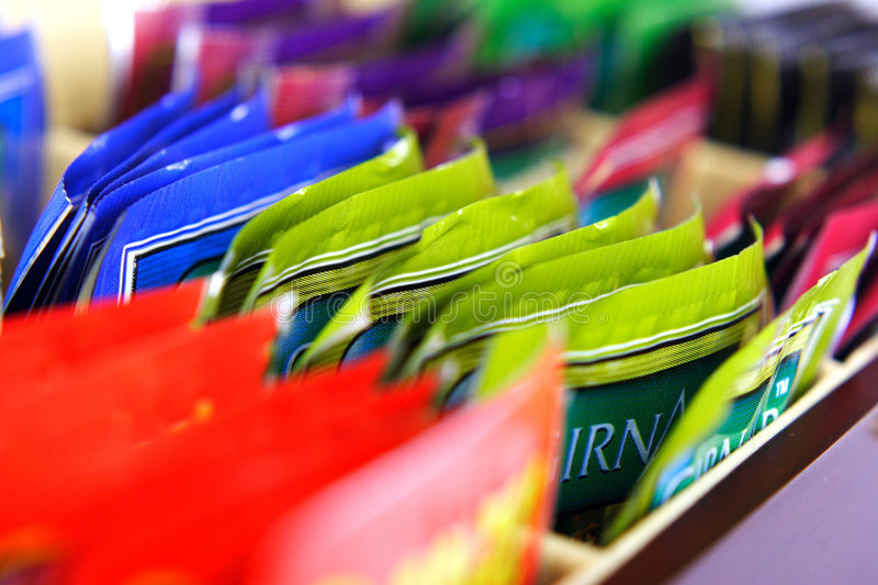 Colourful tea bags stock photography