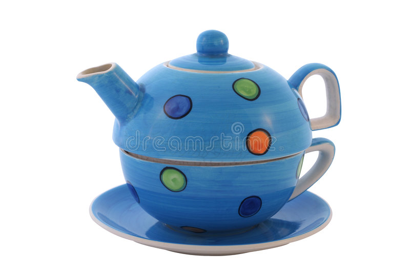 Download Colourful Tea Set. With Clipping Path. Stock Image - Image of brew, saucer: 453293