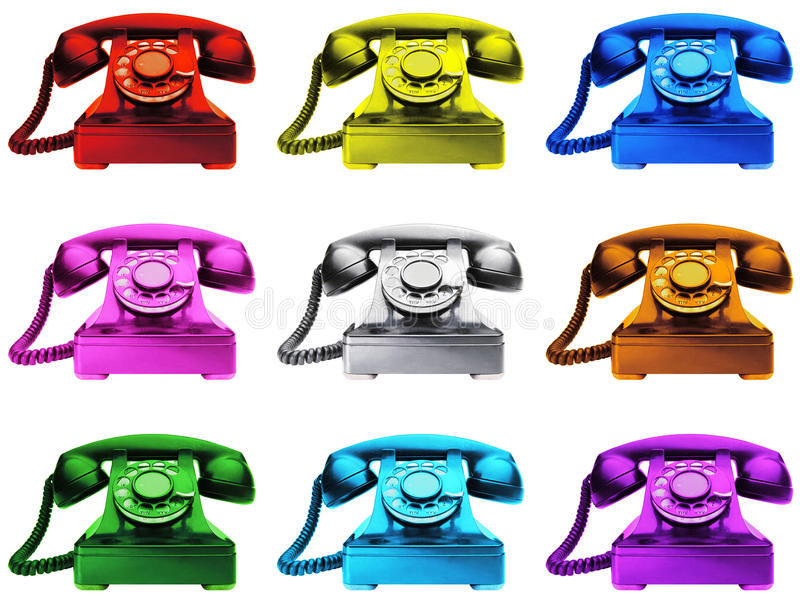 Colourful Telephones. 9 Colourful Traditional Telephones, different colour phones inc red and blue royalty free stock images