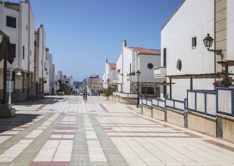 Colourful tiled avenue at Puerto de las Nieves, on Gran Canaria. royalty free stock photo