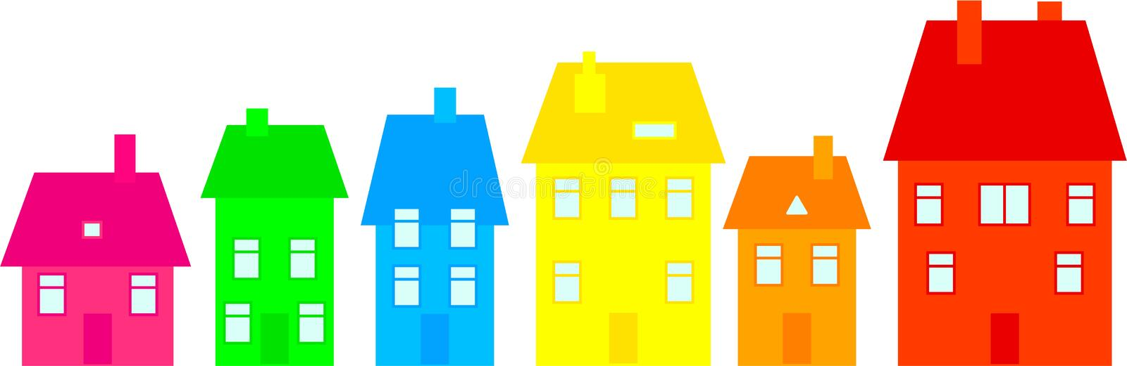 Download Colourful town stock illustration. Illustration of houses - 5566544