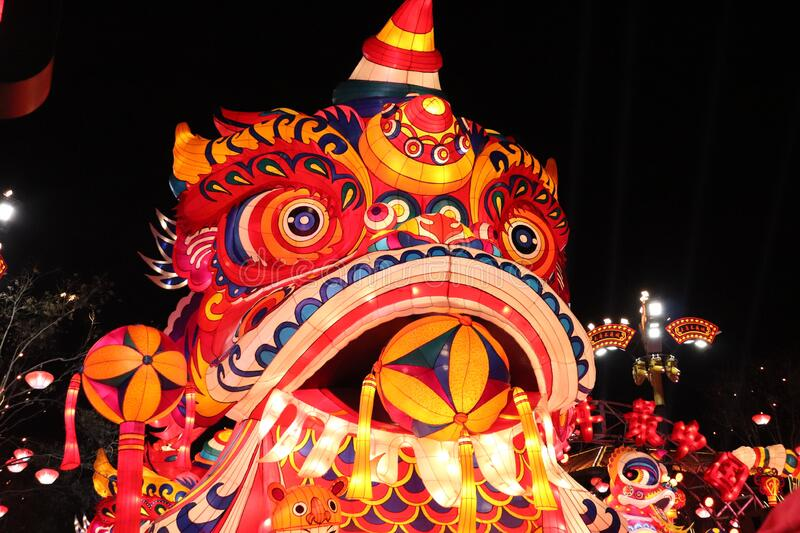 Colourful traditional chinese dragon decoration for New year`s day. In Xi`an, China stock photos