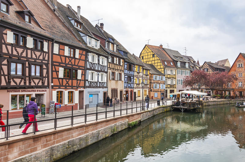 Colourful traditional french half-timbered houses in the old tow stock photo
