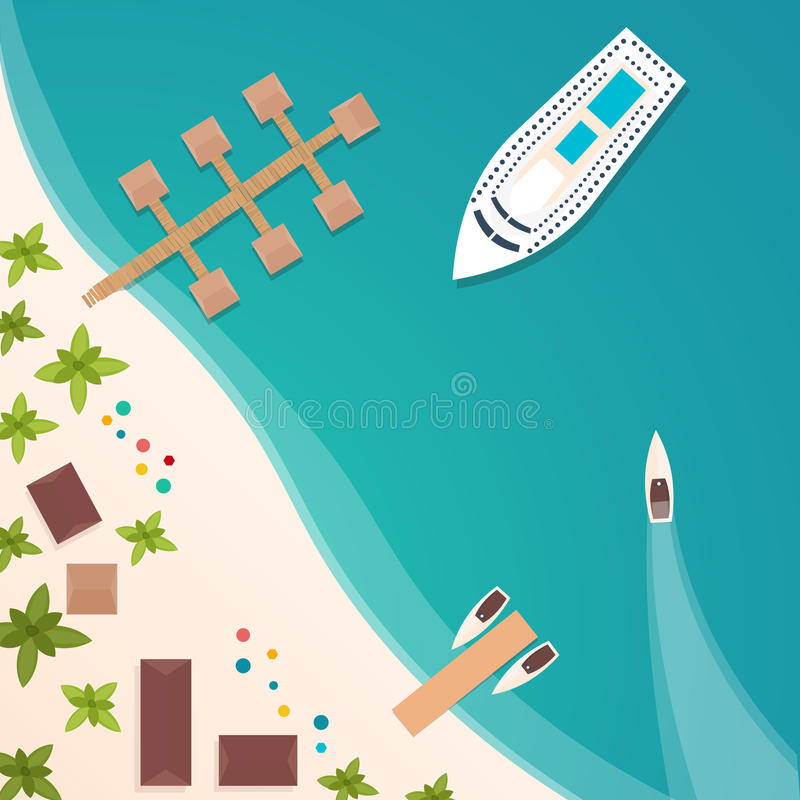 Colourful Travel to Paradise. Tropical beach. Best cruise. Vector flat banner for your business. stock illustration