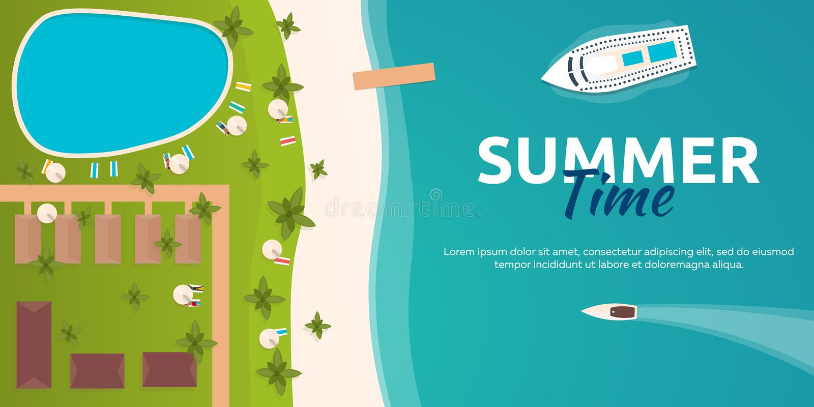 Colourful Travel to Paradise. Tropical beach. Cruise liner. Best cruise. Vector flat banner for your business. vector illustration