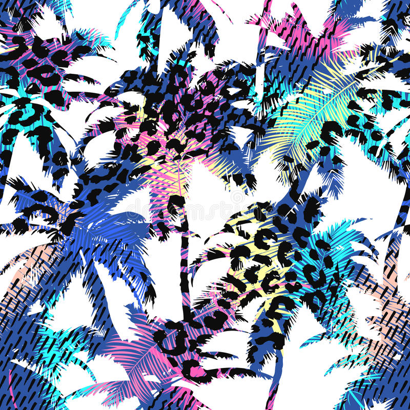 Colourful trendy seamless exotic pattern with palm, animal prints and hand drawn textures. Modern abstract design for paper, wallp vector illustration