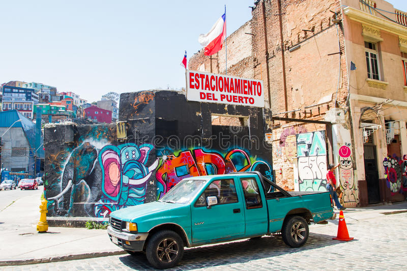 Colourful Valparaiso. VALPARAISO - NOVEMBER 07: Street art in the districts of the protected UNESCO World Heritage Site of Valparaiso on November 7, 2015 in royalty free stock image