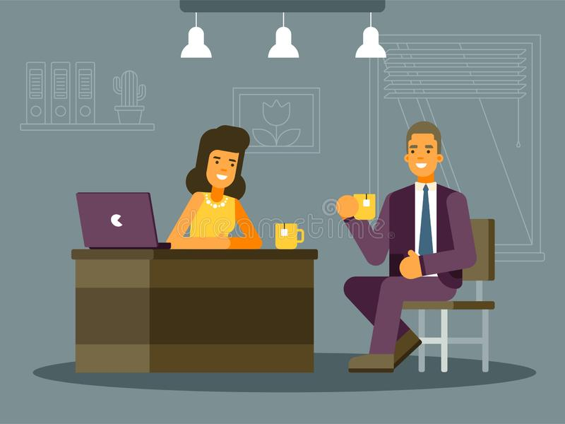 Colourful vector illustration of a job interview. This illustration shows a young man and woman, they are in the office. A man sits on a chair and holds a cup in stock illustration