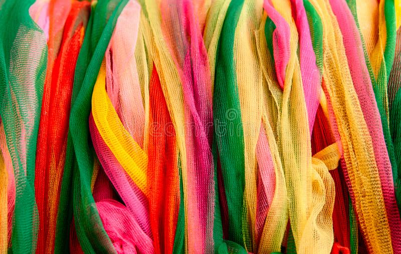 Colourful vibrant nylon ribbons abtract background stock photos