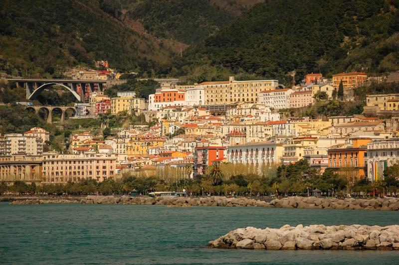 City view. Salerno. Italy. Colourful view of Salerno. Salerno. Italy stock photos
