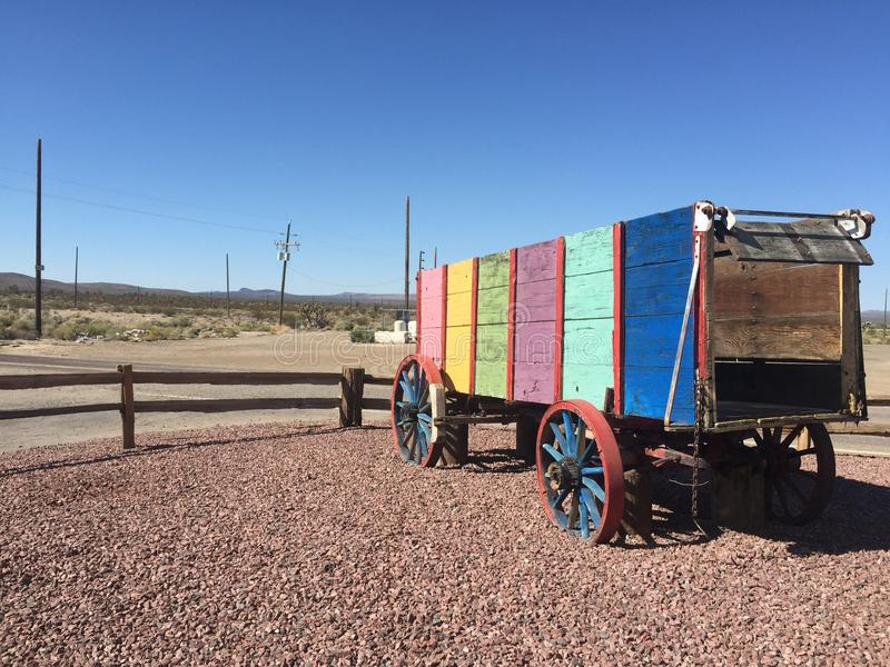 Colourful wagon. Colourful wagon in the desert royalty free stock photography