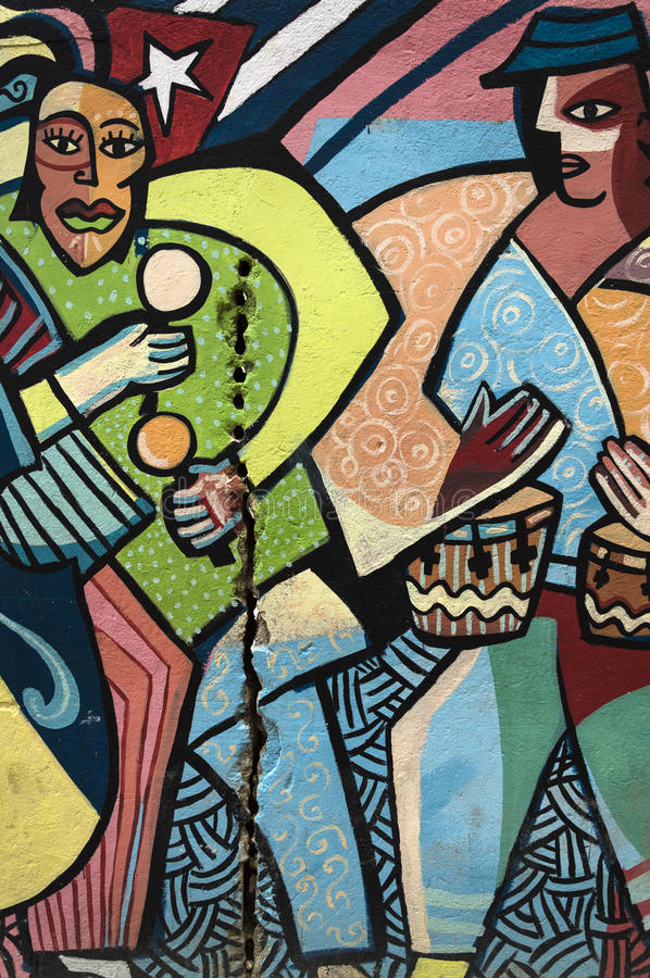 Colourful wall painting in Havana, Cuba royalty free stock photography