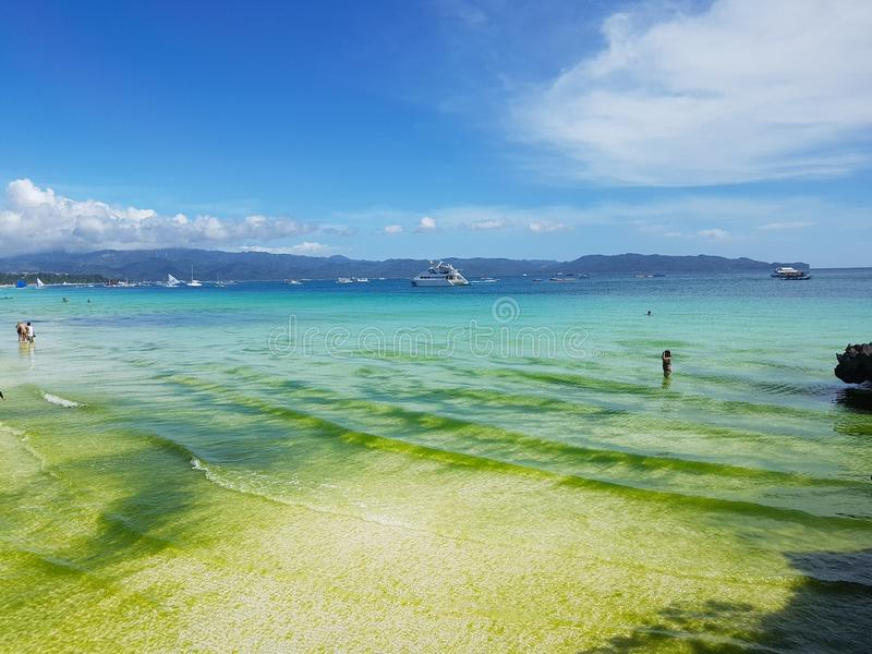 Colourful water of White Beach stock images