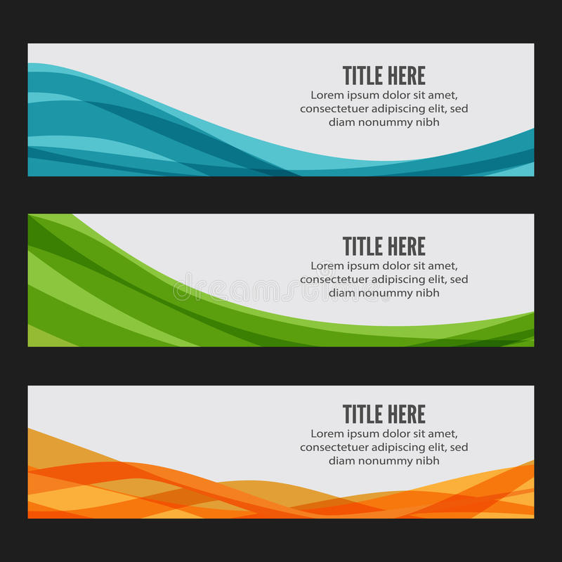 Colourful wave web banners stock photography