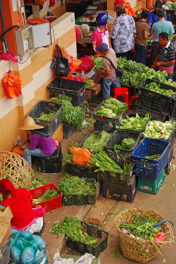 Colourful Wet Market in Seremban Main Market. (Pasar Besar Seremban) in Negeri Sembilan, Malaysia with a Variety of Vegetables. This market is relatively clean stock image
