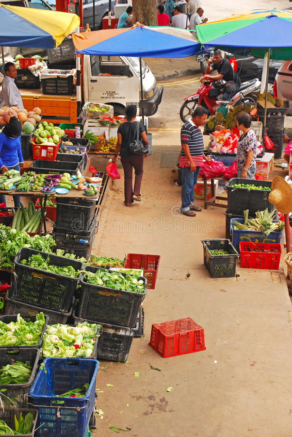 Colourful Wet Market in Seremban Main Market. (Pasar Besar Seremban) in Negeri Sembilan, Malaysia with a Variety of Vegetables. This market is relatively clean royalty free stock images