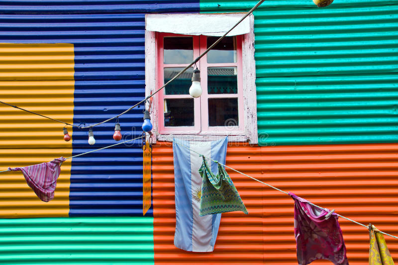 Colourful window with laundry in La Boca. Buenos Aires, Argentina royalty free stock photos