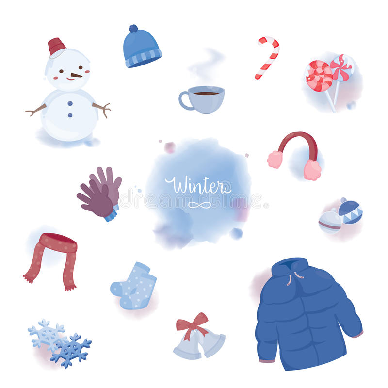 Colourful winter objects in water colour styles. Vector illustration royalty free illustration