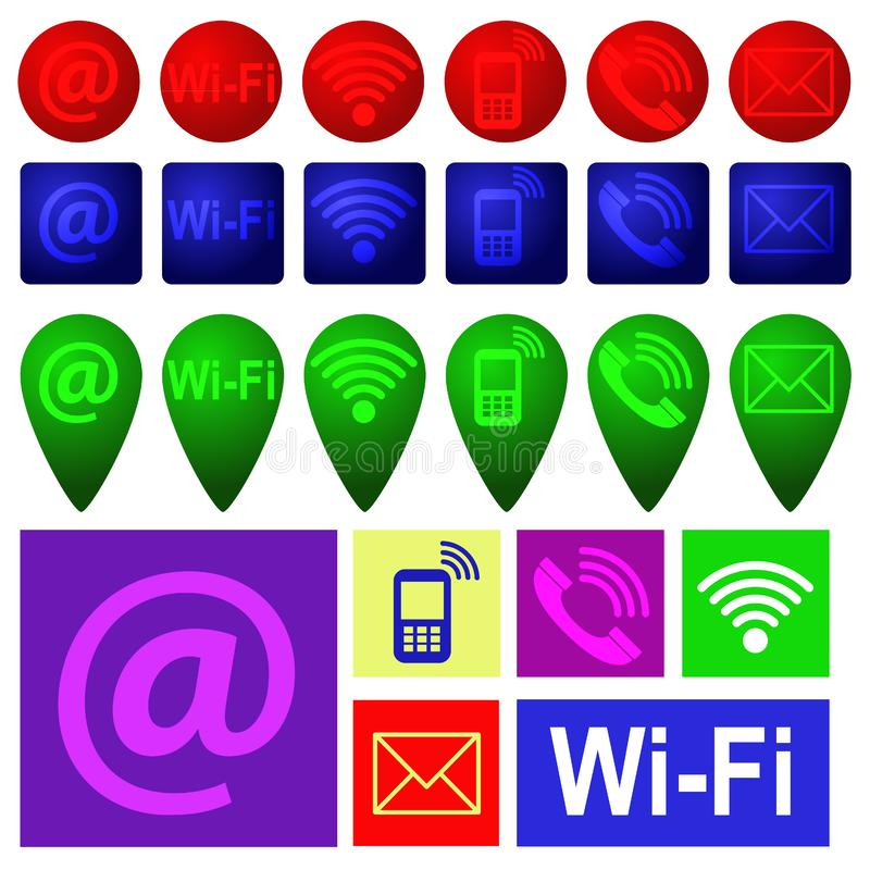 Colourful wisząca ozdoba, sms i email ikony różni kształty, Vect ilustracja wektor