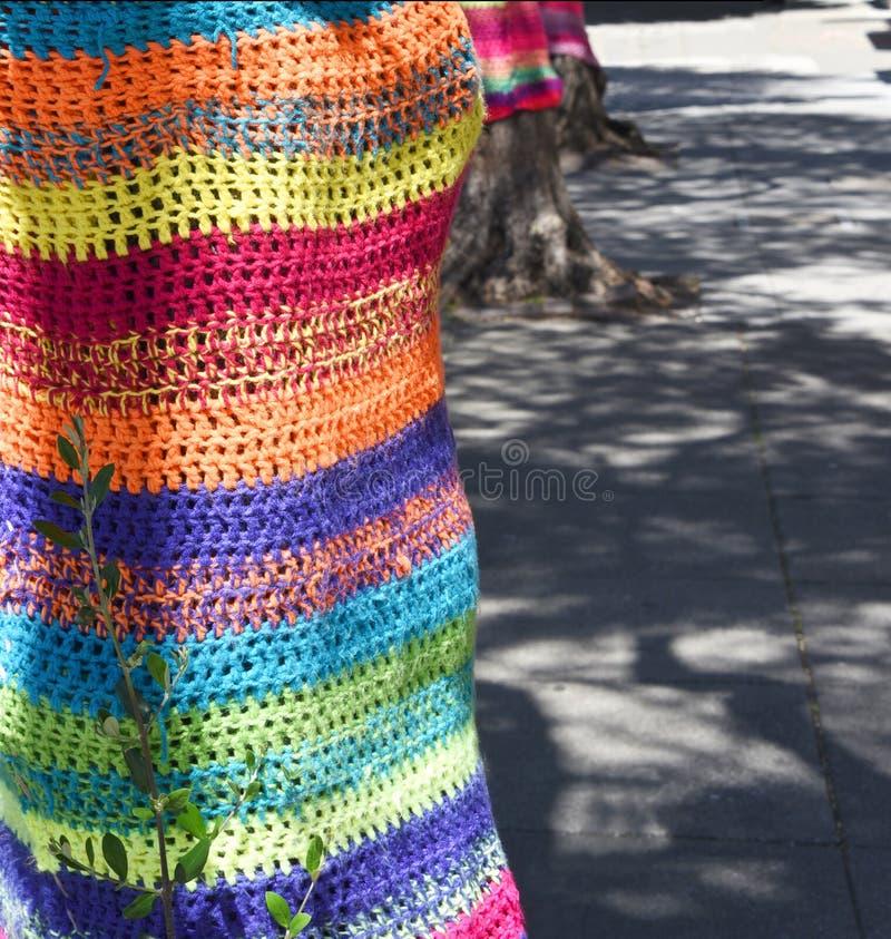 Colourful yarn bombed tree stock image. Image of rainbow - 105082897