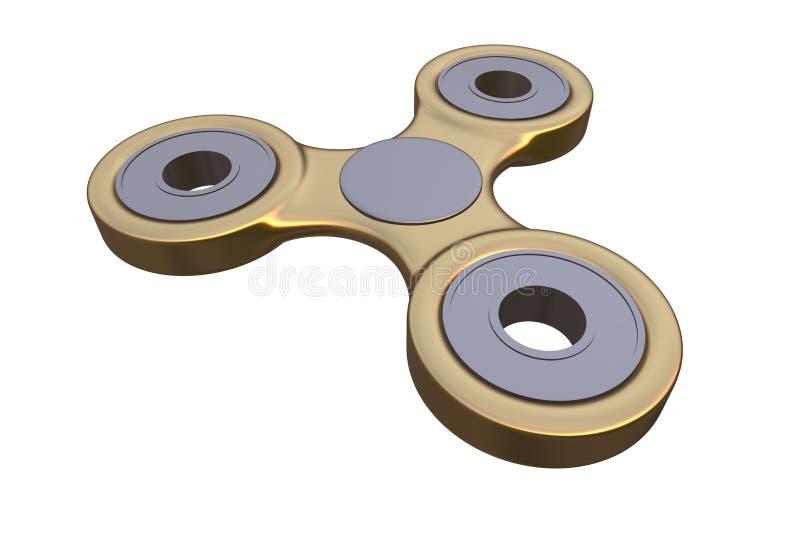 Colourful złoty stalowy metalu wiercipięta palca kądziołka stres, niepokój ulgi zabawki 3d ilustracja ilustracji
