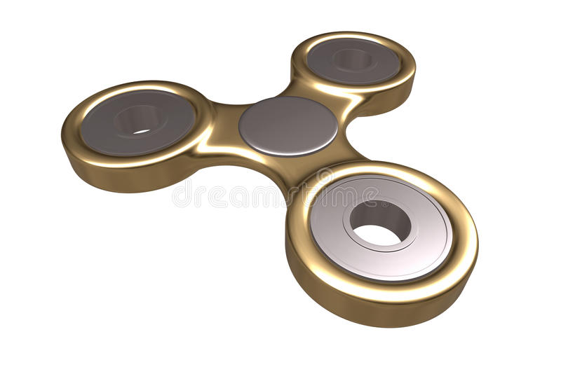 Colourful złoty stalowy metalu wiercipięta palca kądziołka stres, niepokój ulgi zabawki 3d ilustracja ilustracja wektor