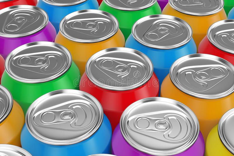 Colourfuld铝饮料行装背景于罐中 3d?? 向量例证
