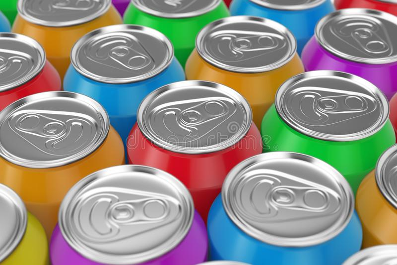 Colourfuld铝饮料行装背景于罐中 3d?? 库存例证