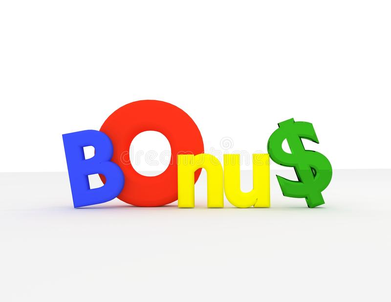 Colourfull bonus 3d text royalty free stock photos