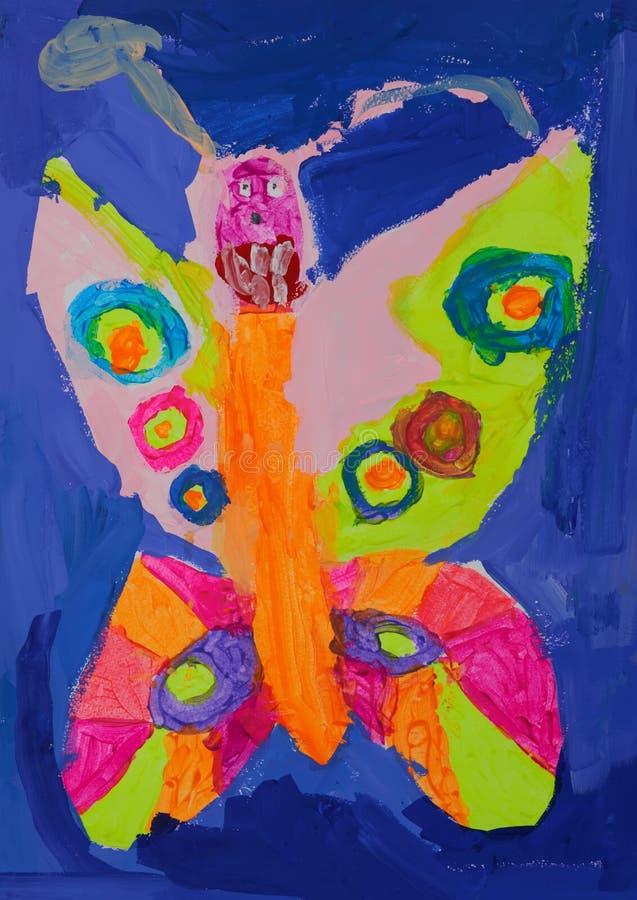 Colourfull fjäril med stora tänder vektor illustrationer