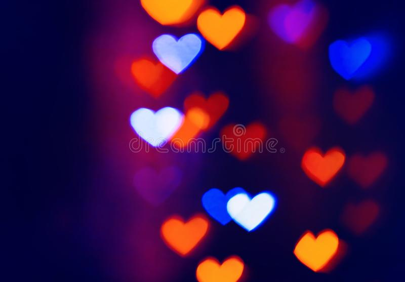 Colourfull heart bokeh background. Colourful heart bokeh background. For Christmas and Valentine`s day greeting cards, invitations, flyers, perfect for blog stock images