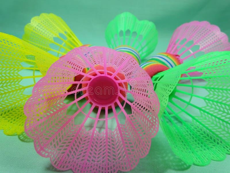 Colourfull plastic shuttles royalty-vrije stock foto's