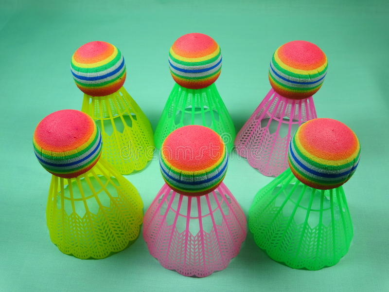 Colourfull plastic shuttles royalty-vrije stock afbeelding