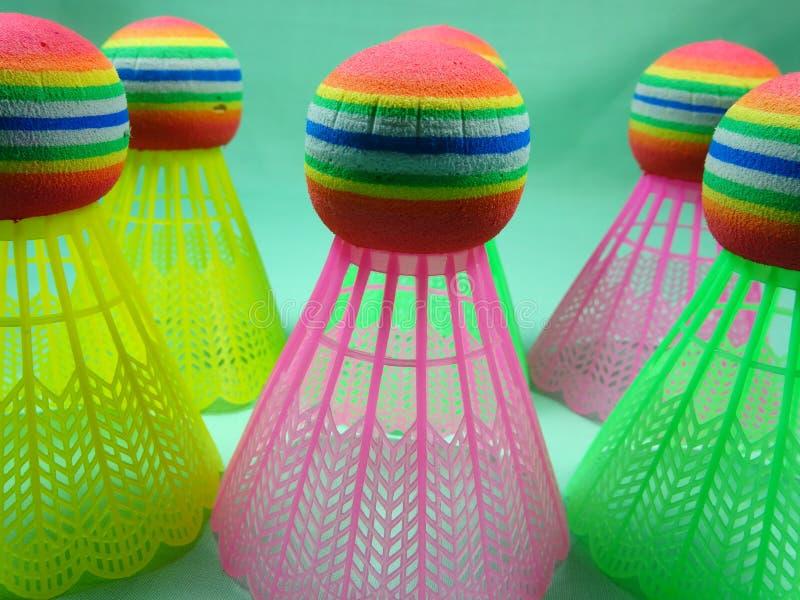 Colourfull plastic shuttles stock foto's