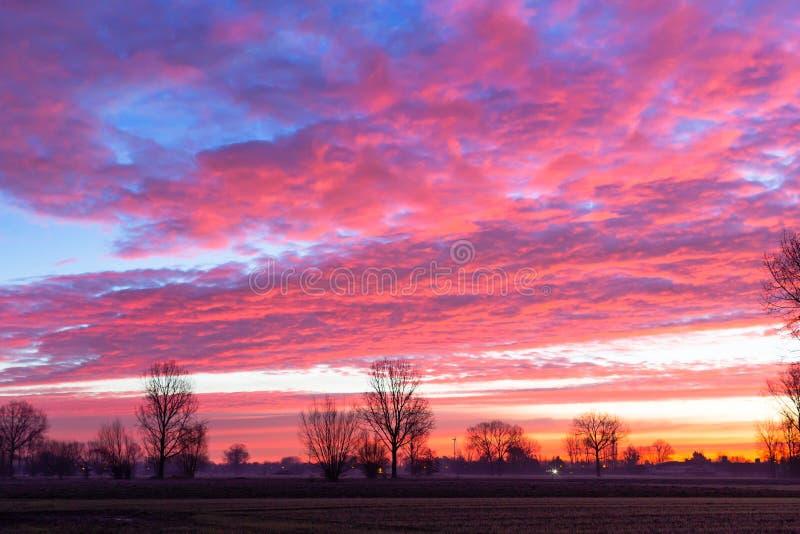 Horizon at cloudy winter day royalty free stock photos