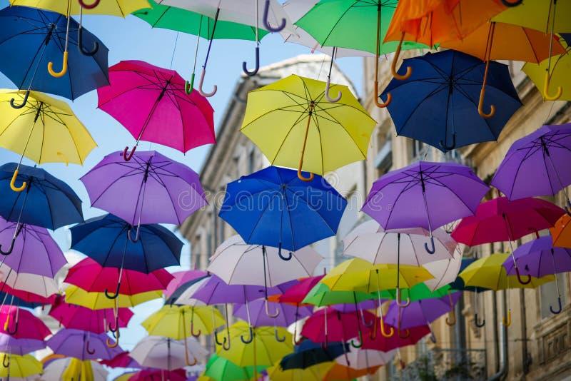 Colourfull umbrellas, Arles, France royalty free stock photography