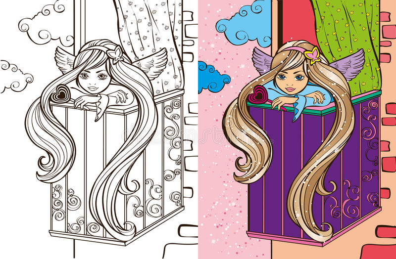 Colouring Book Of Angel Girl On Balcony vector illustration