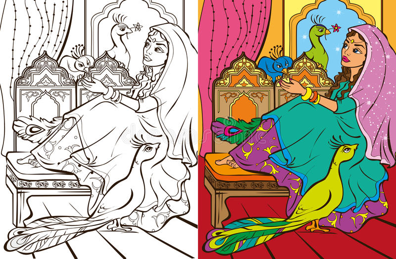 Colouring Book Of Eastern Princess stock illustration