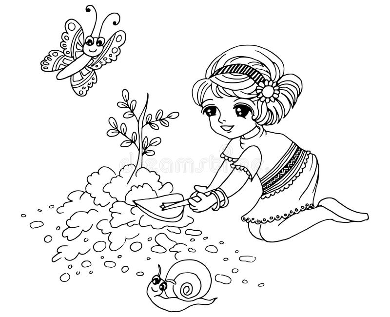 Colouring book Gardening stock illustration. Illustration of topsoil ...
