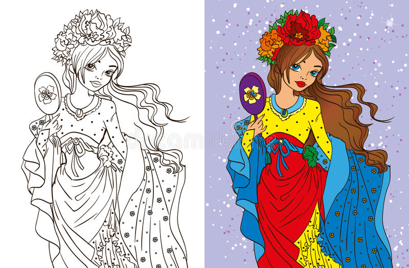 Colouring Book Of Girl With Mirror royalty free illustration
